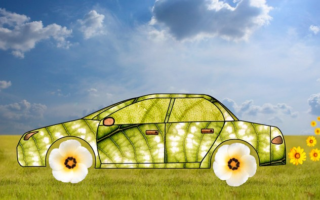Hybrid/Green Car made of leaves/flowers.