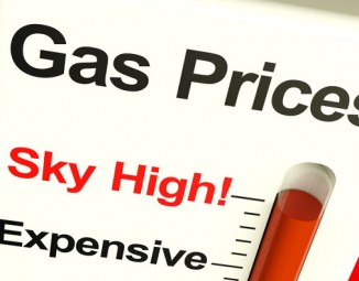 A chart detailing gas prices rising.
