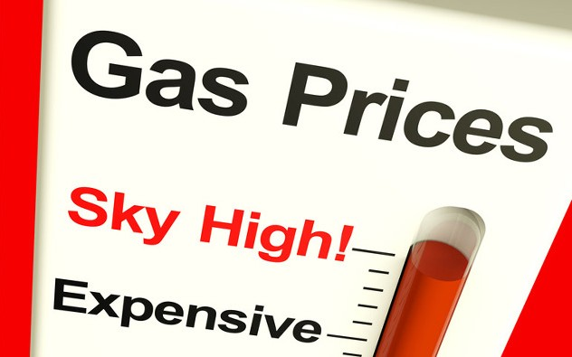 A meter showing the rise in gas prices