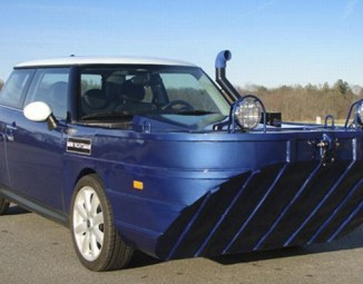 Blue mini cooper yachtsman